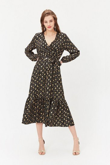 Black Frill Hem Flecked Wrap Dress