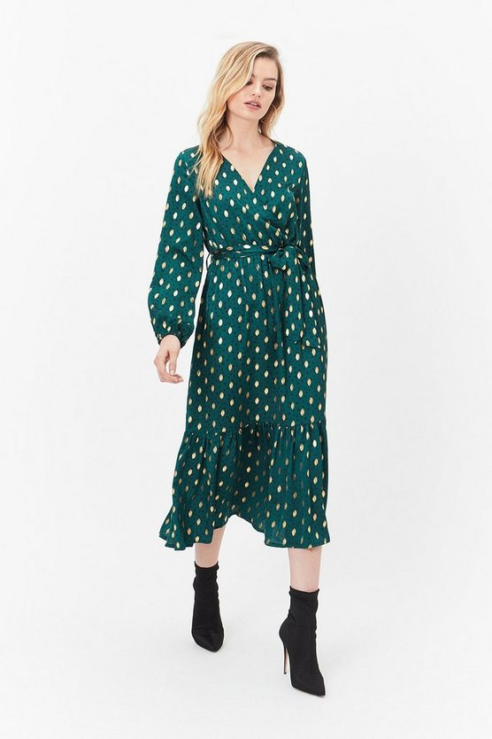 Green Frill Hem Flecked Wrap Dress
