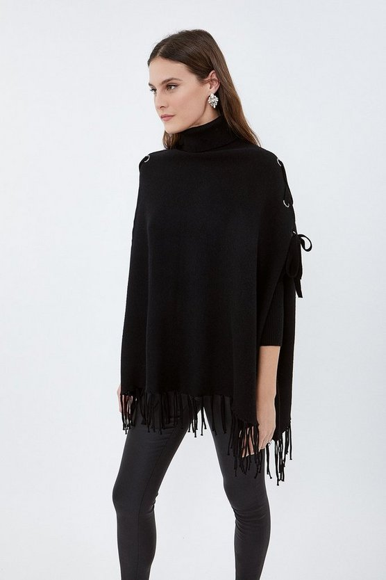 Black Roll Neck Fringed Knitted Poncho