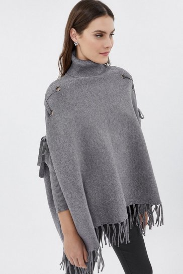 Grey marl Roll Neck Fringed Knitted Poncho