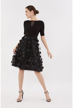 Black Solid Bodice Textured Skirt Dress