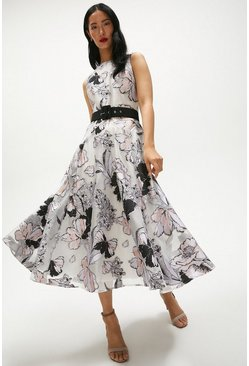 Blush Floral Jacquard Full Skirt Midi Dress