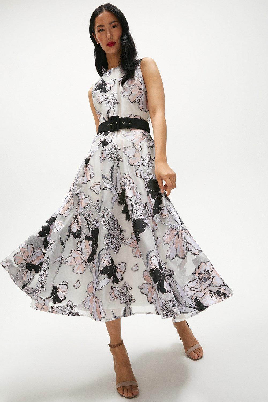 Coast Elia Floral Jacquard Full Skirt Bridal Wedding Occasion Midi Dress 12 40