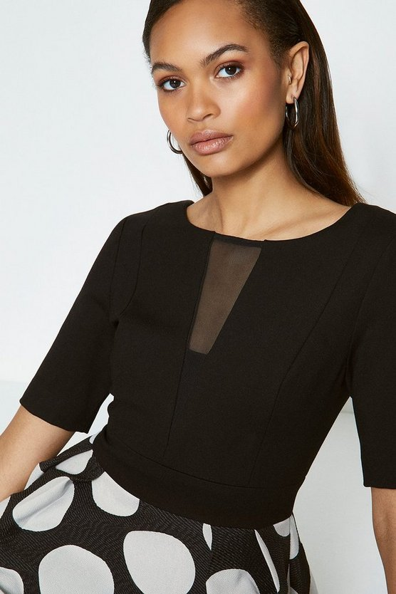 Blackwhite Solid Bodice Spot Skirt Dress