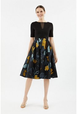 Multi Solid Bodice Clipped Jacquard Skirt Dress