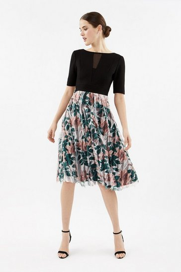 Multi Solid Bodice Tulle Print Skirt Dress