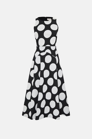 Blackwhite Sleeveless Full Midi Spot Dress