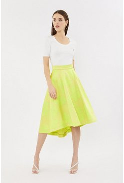 Yellow Jacquard Full Midi Skirt