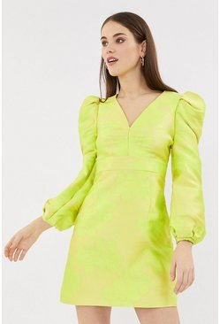 Yellow Puff Sleeve V Neck Jacquard Dress