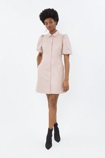 Blush Pu Puff Sleeve Dress