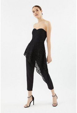Black Bandeau Lace Jumpsuit