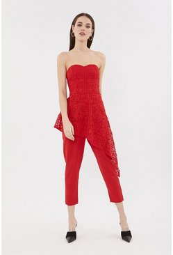 Red Bandeau Lace Jumpsuit