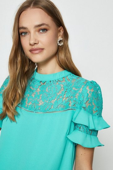 Aqua Short Sleeve Lace And Ruffle Shell Top