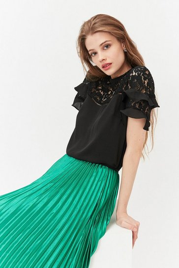 Black Short Sleeve Lace And Ruffle Shell Top