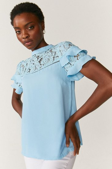 Blue Short Sleeve Lace And Ruffle Shell Top