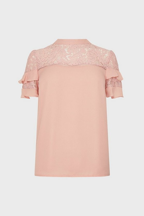 Blush Short Sleeve Lace And Ruffle Shell Top