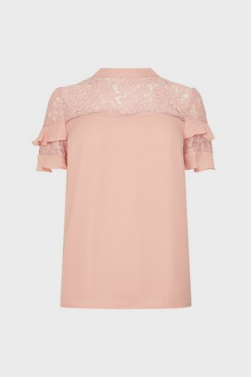 Blush Lace And Ruffle Shell Top