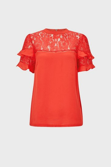 Coral Short Sleeve Lace And Ruffle Shell Top