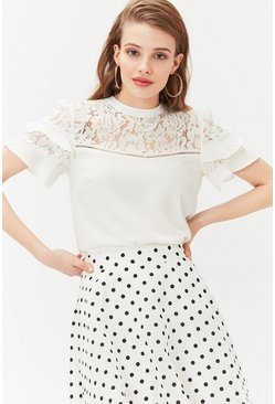 Ivory Short Sleeve Lace And Ruffle Shell Top