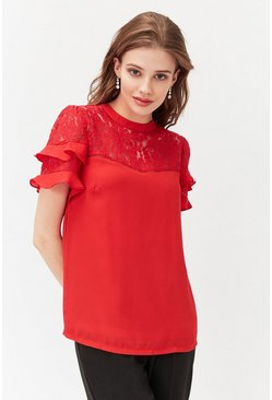 Red Short Sleeve Lace And Ruffle Shell Top
