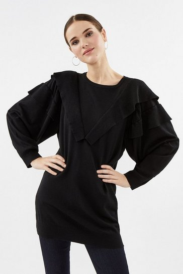 Black Ruffle Shoulder Knitted Long Sleeve Tunic Top