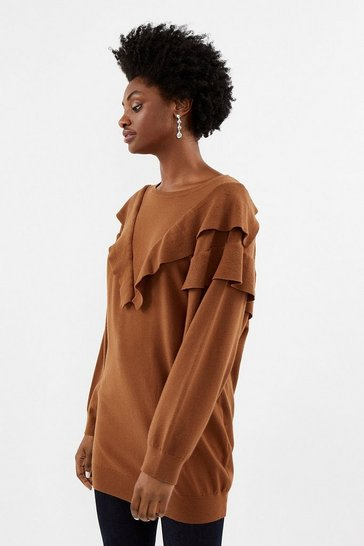 Tan Ruffle Shoulder Knitted Long Sleeve Tunic Top