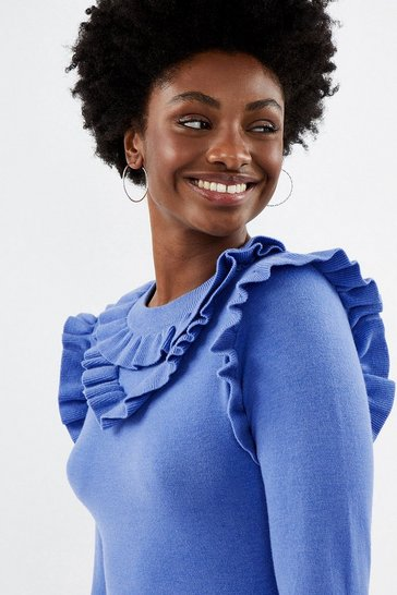 Blue Ruffle Long Sleeve Jumper
