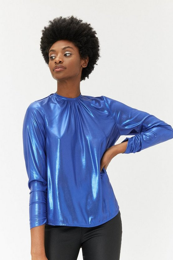 Cobalt Long Sleeve Cowl Back Metallic Blouse