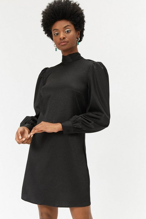Black Metallic High Neck Shift Dress