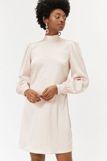 Champagne Metallic High Neck Shift Dress