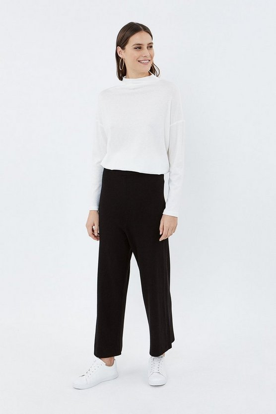 Black Soft Yarn Wide Leg Knit Trouser