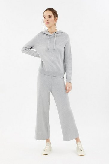 Grey marl Soft Yarn Wide Leg Knit Trouser