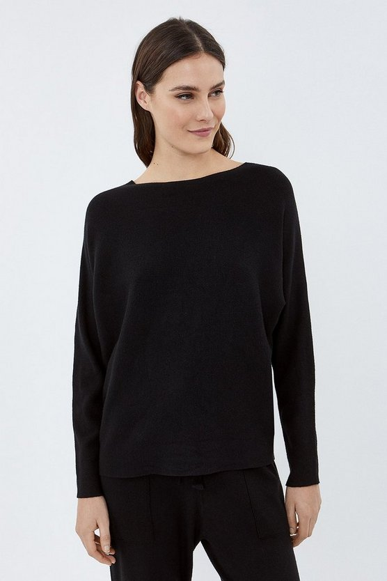 Black Long Sleeve Soft Yarn Jumper