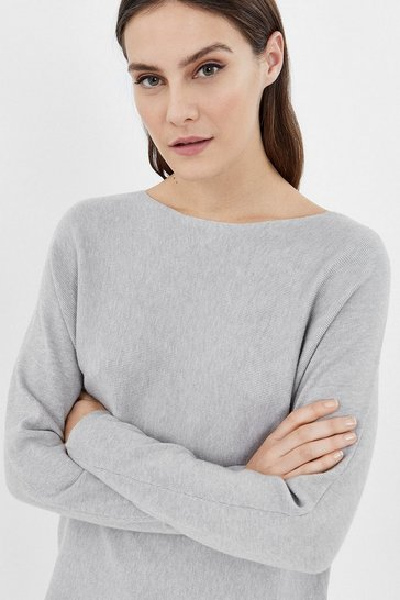 Grey marl Long Sleeve Soft Yarn Jumper