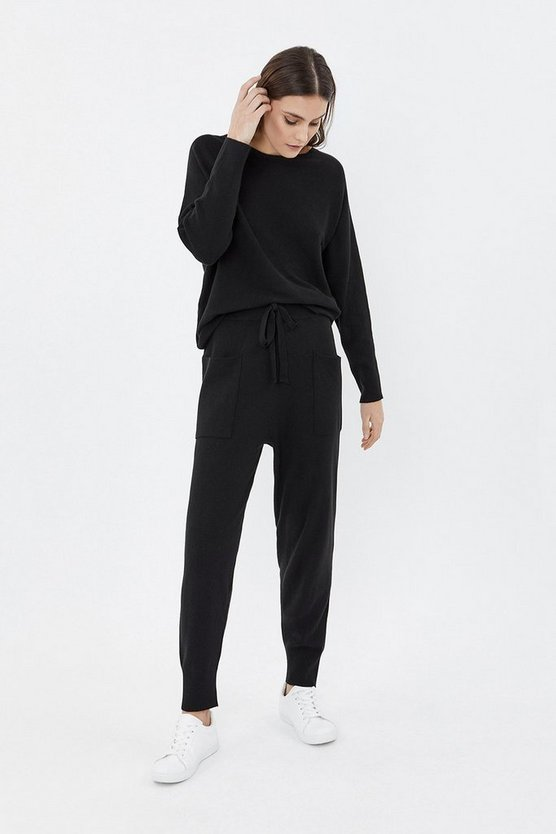 Black Knit Soft Yarn Joggers
