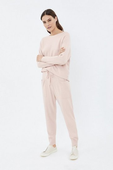 Pale pink Knit Soft Yarn Joggers