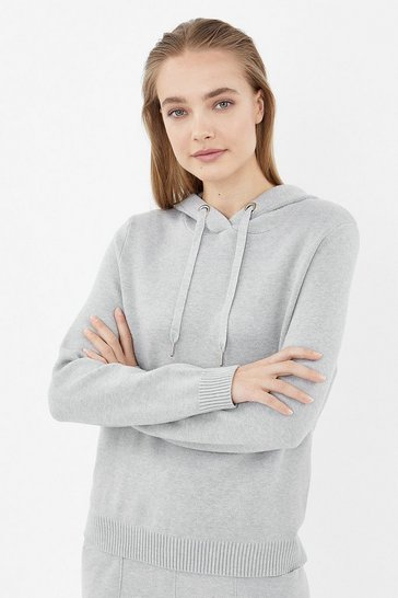 Grey marl Soft Yarn Hooded Knit Long Sleeve Jumper