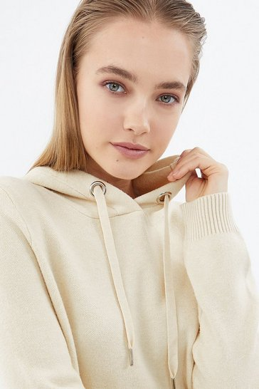 Oatmeal Soft Yarn Hooded Knit Long Sleeve Jumper