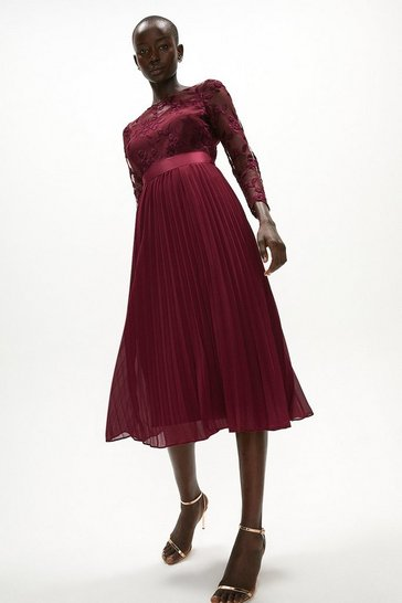 Aubergine Embroidered Long Sleeve Midi Dress