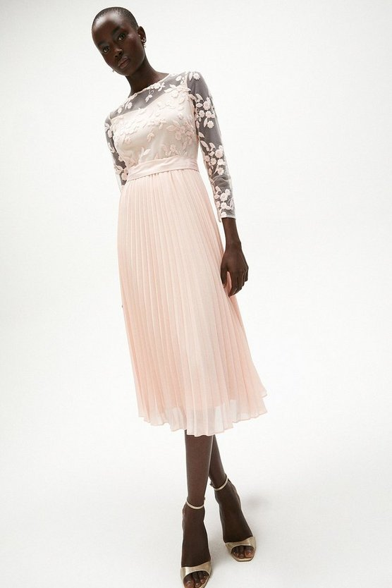 Blush Embroidered Long Sleeve Midi Dress