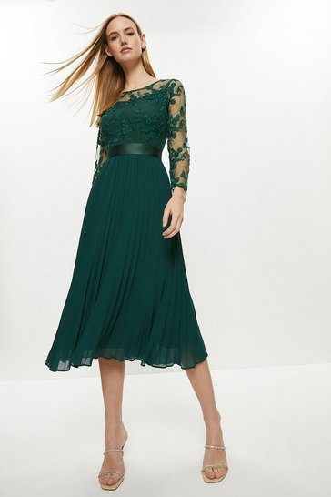 Forest Embroidered Long Sleeve Midi Dress