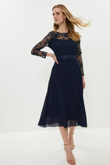 Navy Embroidered Long Sleeve Midi Dress