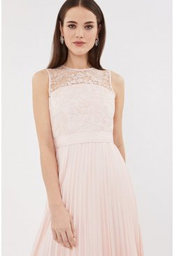 Blush Lace Bodice Pleat Skirt Midi Dress