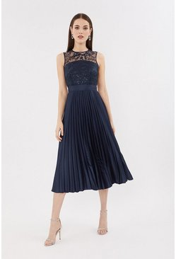 Navy Lace Bodice Pleat Skirt Midi Dress