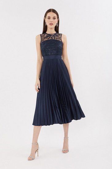 Navy Lace Bodice Pleat Skirt Dress