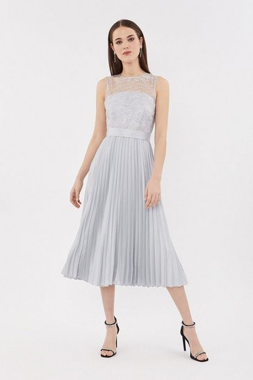 Silver Lace Bodice Pleat Skirt Midi Dress