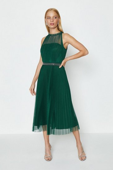 Forest Mesh Pleated Midi Dress