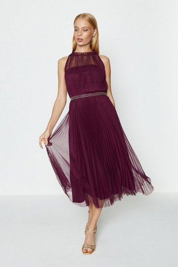 Merlot Mesh Pleated Midi Dress