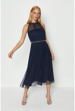 Navy Mesh Pleated Midi Dress