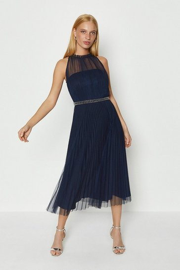 Navy Mesh Pleat Midi Dress